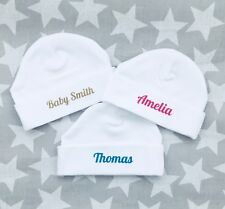 PERSONALISED unisex baby hats. Pink, blue, beige, ANY NAME OR SLOGAN baby shower
