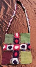 Nepalese Handmade Hemp, Recycled Silk.  Festival, Lined Shoulder Bag.