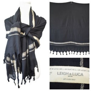 Leigh & Luca Large Shawl Scarf Wrap Rectangle Black Cashmere Silk Blend Tassels