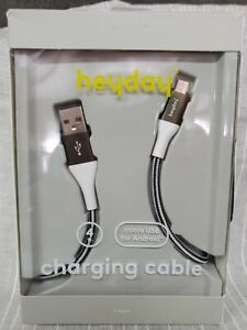 Heyday Charging Cable~ 4 Ft~ Micro USB for Android~ Braided Cable Black/White