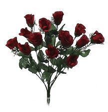 14 Long Stem Roses ~ BURGUNDY  WINE ~ Silk Wedding Flowers Centerpieces Bouquets