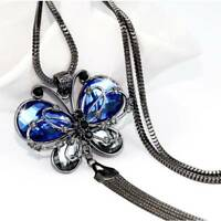 Women Long Chain Necklace Animal Blue Crystal Jewelry Butterfly beauty Charm n