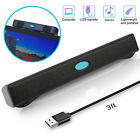 Wired USB Power Computer Speakers Stereo Sound Bar w/Clip For Desktop PC Laptop