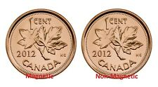 Canada 2012 Magnetic and Non-Magnetic Penny Last One Cent Coin Set