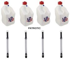 VP Racing Set of 4 Square 5 Gallon Fuel Jug Containers (Specify Color) & Hoses