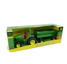 "NEW Tomy John Deere 8"" Tractor w/ Flare Box Detachable Wagon Toy #37163 NIB"