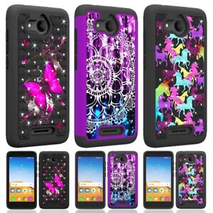 For Alcatel Tetra Hybrid Dual Layer Hard Shockproof Diamond Bling Case Cover