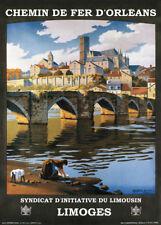LIMOGES, CHEMIN DE FER D'ORLEANS, FRANCE Vintage French Travel Poster 250gsm