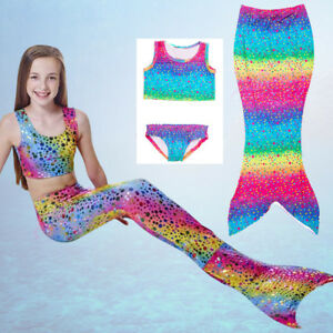 Kids Girl Swimmable Mermaid Tail Monofin Swimwear Bikini Swimsuit Fancy Costume