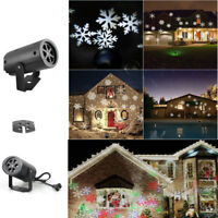 Xmas Outdoor LED Light Moving Snowflake Landscape Laser Projector Lamp White WD