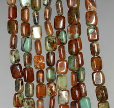 8X6MM AFRICAN GREEN OPAL GEMSTONE BROWN GREEN RECTANGLE LOOSE BEADS 16""