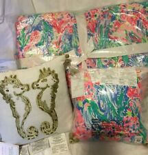 New Listingpottery barn Lilly Pulitzer Fan sea Pants king quilt & 2 Hold your horses pillow