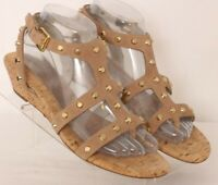 Michael Kors Tan Leather Strappy Studded Buckle Wedge Sandals Women's US 8.5M