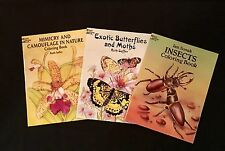 SET of THREE (3) COLORING BOOKS on Insects...Exotic Butterflies & Moths...Camouf