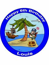 "Novelty Personalised Pirate Ship Island  7.5"" Edible Wafer Paper Cake Topper"