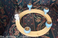 """Holzkunst mit Herz Erzebirdge Wood Christmas blue Candle Holder, Germany, 11 """""""