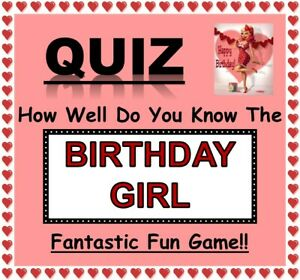 'How Well Do You Know The (Adult) Birthday Girl' 10 Sheets-Fun Celebration Game