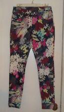 HUE Multi-Color Floral Print Leggings - Size S  EC!!!