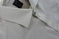 Pronto Uomo Mens Medium Modern Fit Non Iron Dress Shirt Beige Check French Cuff