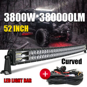 12D Curved 52inch 3800W LED Light Bar Flood Spot Roof Driving Truck RZR SUV Wire