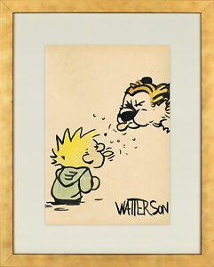 Bill Watterson: Calvin and Hobbes - watercolor on old paper