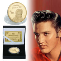 WR Elvis Presley The King of Rock N Roll GOLD Coin Souvenirs In Gifts Box
