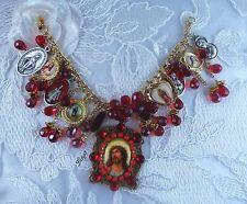 "Catholic ""By His Precious Blood"" Jesus Christ Vintage Cameo Religous Bracelet"