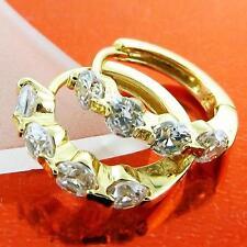HUGGIE HOOP EARRINGS 18K YELLOW GF GOLD SOLID DIAMOND SIMULATED DESIGN FS3AN966