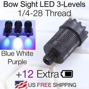 Compound Bow Sight Light Bowlight UV LED 3-Levels Rheostat Adjustable 1/4-28 CBE