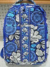 Vera Bradley Large Blue Floral Backpack Vinyl and Mesh Lining Clean