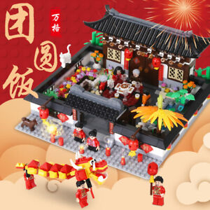 .Wange Building Blocks New Year's Eva Family Reunion Dinner Scene Display Bricks