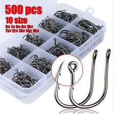 500PCS Fishing Hooks High Carbon Steel Sharp Fishhook Barbed 10 Sizes Fishing
