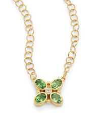 Temple St. Clair Tsavorite & Diamond Quadrifoglio Necklace in 18K Yellow Gold
