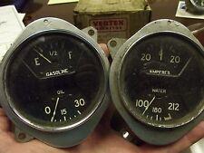 A/C Vintage Two Gauge Set Oil Fuel Amp Water Curved Glass 1932 Hot Rod Rat Deuce