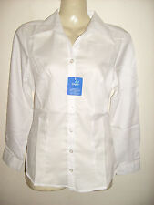 Ladies WHITE long Sleeve fitted Blouse Work/office/social/leisure Choose Size