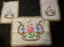 Great Vintage 3 Pc. Buffet Set Embroidered Linen Spectacular Trim- FaNcY ShManCy