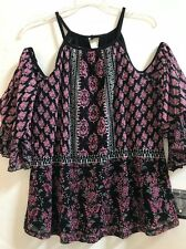 Womens INC Dandy Flower Scarf Cold-Shoulder Peasant Top Size L