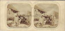 Suisse Effet de neige Scène de genre Stéréo Diorama Stereoview Tissue ca 1860