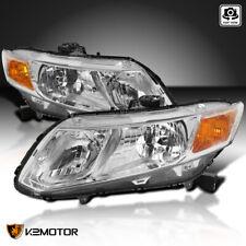 Fits 2012-2015 Honda Civic 4Dr Sedan Crystal Headlights Head Lamps Left+Right