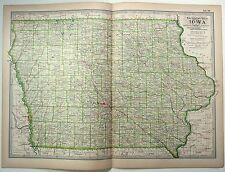 Original 1897 Map of Iowa by The Century Comapny. Antique