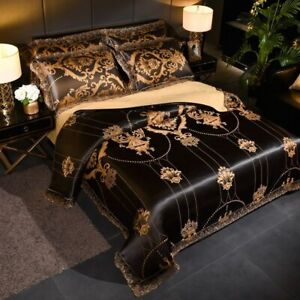 Luxury Jacquard Floral Bedding Set Wedding Duvet Cover  Flat Sheet Pillowcase