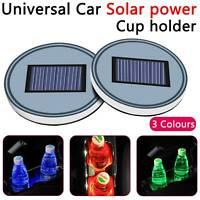 All car Solar Cup Holder Bottom Pad LED Light Cover Trim Atmosphere Lamp UK