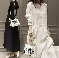 Women cotton Linen shirt long dress casual maxi vintage loose long sleeve dress