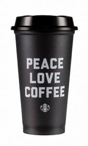 STARBUCKS Peace Love Coffee Black Reusable Plastic Cup / Travel Mug Ltd Ed 2019