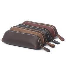 Random Handmade Cow Leather Pen Case Bag Zipper Vintage Pencil Pouch Brush Tool