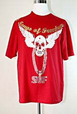 SONGS OF FREEDOM Men's T Shirt Short Sleeve Red Cotton Jeweled Scull & Wings XL