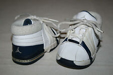 FREE SHIPPING Jordan Baby Sz 3 C White Dark Blue Athletic Basketball Shoes NICE
