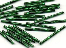 30mm Czech Twisted Dark Green Bugle Glass Beads Jewelry Making Craft 100pcs