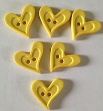 6 X Bright Cutesy Heart Buttons - Australian Supplier