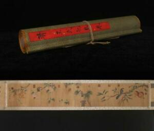 Qing Dynasty Wang Wu Signed Old Chinese Hand Painted Calligraphy Scroll w/flower
